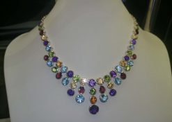 multi color gem necklace with high quality natural gemstones